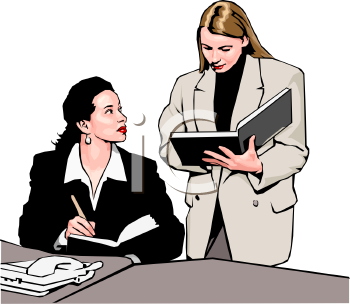 0511-1001-2803-3925_Assistant_Taking_Notes_from_Her_Boss_clipart_image